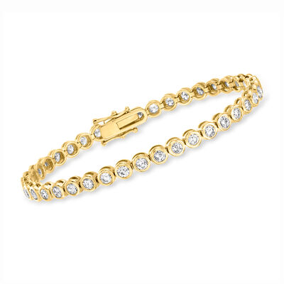 5.00 ct. t.w. Bezel-Set Diamond Tennis Bracelet in 14kt Yellow Gold