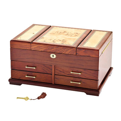 Bubinga Veneer with Mapa Burlwood Inlay Locking Jewelry Box