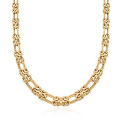 Italian 14kt Yellow Gold Byzantine and Double-Link Necklace, , default