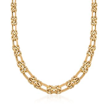 "Italian 14kt Yellow Gold Byzantine and Double Link Necklace. 18"", , default"