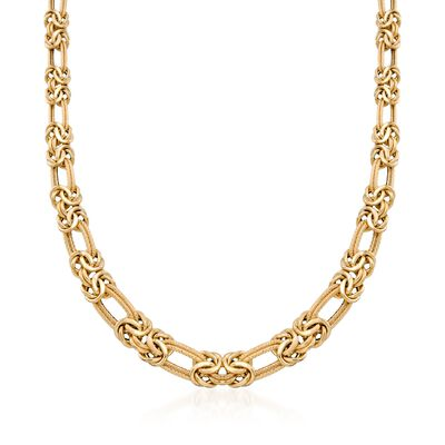 14kt Yellow Gold Byzantine and Double-Link Necklace, , default