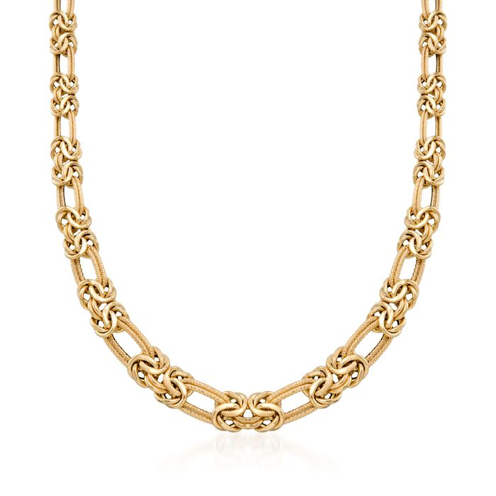 "14kt Yellow Gold Byzantine and Double Link Necklace. 18"", , default"