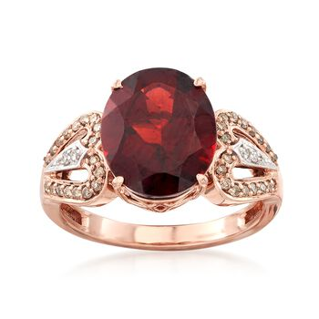 5.00 Carat Oval Garnet and .21 ct. t.w. White and Brown Diamond Ring in 14kt Rose Gold, , default