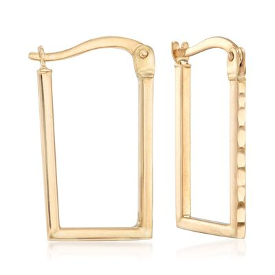 14kt Yellow Gold Rectangle Hoop Earrings, , default
