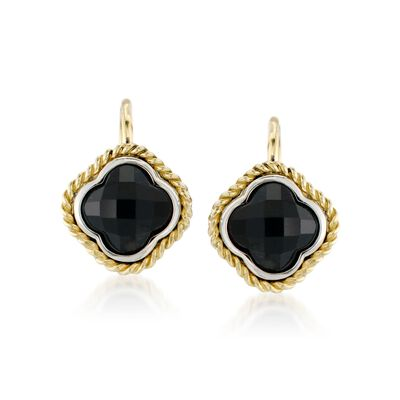 Andrea Candela Black Onyx Clover Earrings in Two-Tone, , default