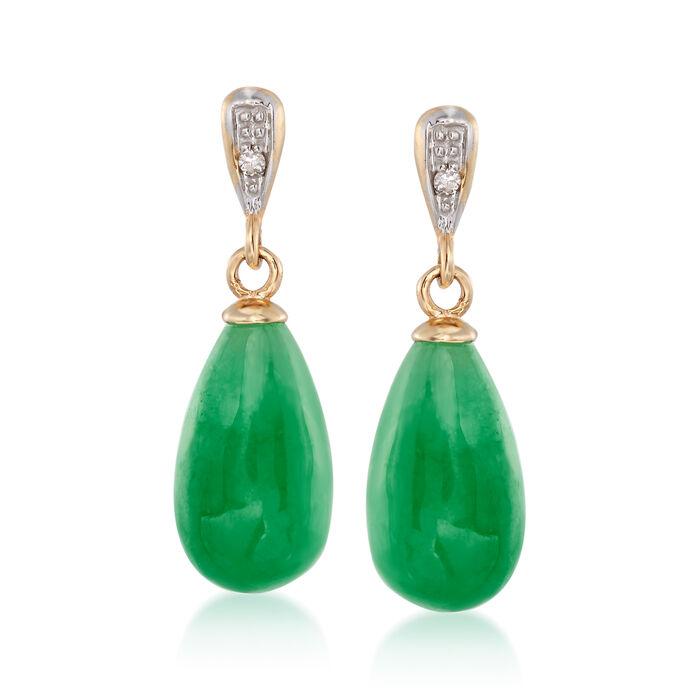 Jade Teardrop Earrings with Diamond Accents in 14kt Yellow Gold, , default
