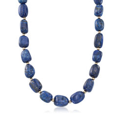 Lapis Bead Necklace With 14kt Yellow Gold, , default