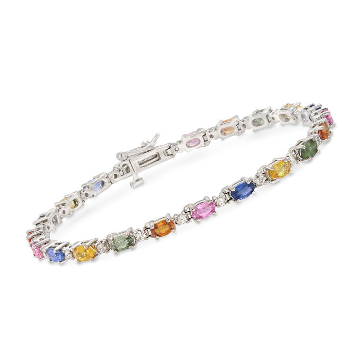 """C. 2005 Vintage 6.00 ct. t.w. Multicolored Sapphire and 1.00 ct. t.w. Diamond Bracelet in 14kt White Gold          . 7"""", , default"""