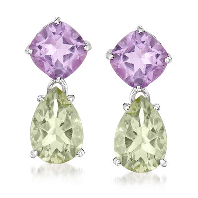 5.00 ct. t.w. Green Prasiolite and 4.40 ct. t.w. Amethyst Drop Earrings in Sterling Silver