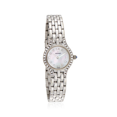 C. 1990 Vintage Movado Women's Mother-Of-Pearl and .40 ct. t.w. Diamond 21mm 14kt White Gold Watch, , default