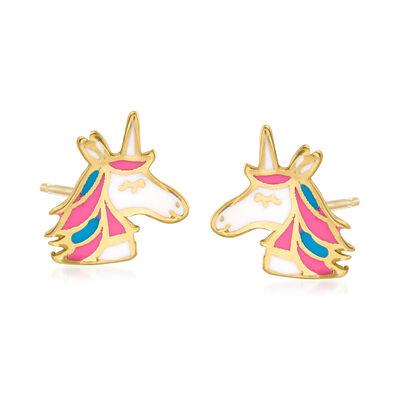 14kt Yellow Gold and Multicolored Enamel Unicorn Earrings