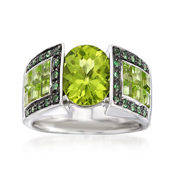 5.00 ct. t.w. Peridot and .20 ct. t.w. Tsavorite Ring in Sterling Silver, , default