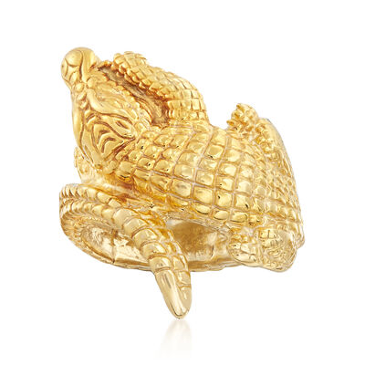 Italian 18kt Gold Over Sterling Silver Alligator Bypass Ring, , default