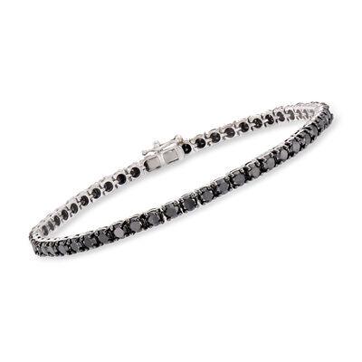 8.00 ct. t.w. Black Diamond Tennis Bracelet in 14kt White Gold, , default