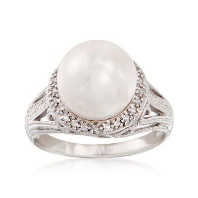 11-12mm Cultured Pearl and .20 ct. t.w. White Topaz Ring in Sterling Silver, , default