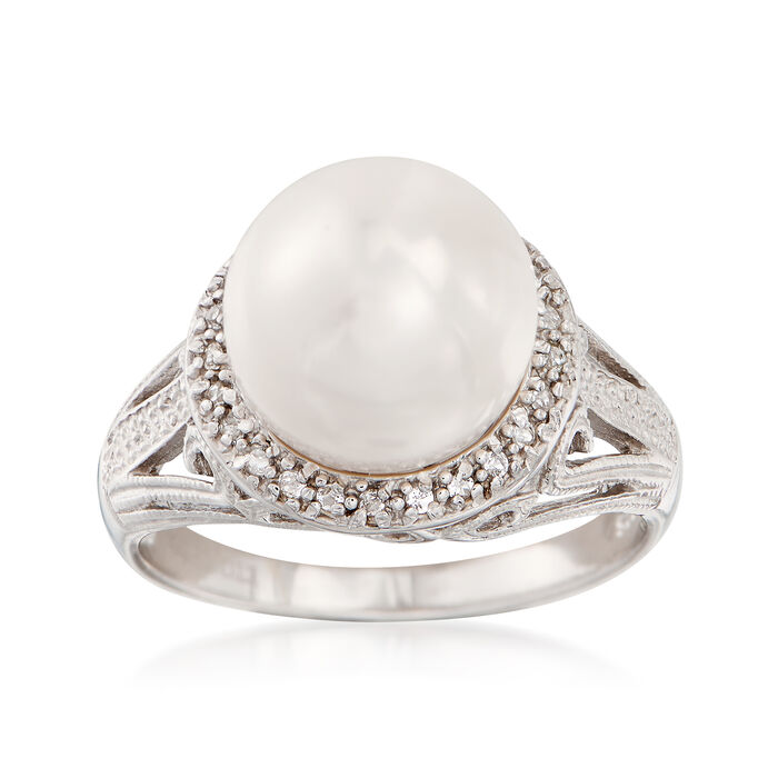 11-12mm Cultured Pearl and .20 ct. t.w. White Topaz Ring in Sterling Silver