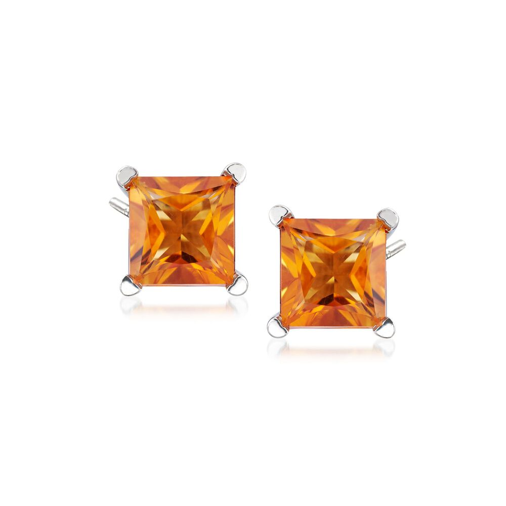 T W Princess Cut Madeira Citrine Stud Earrings In Sterling Silver