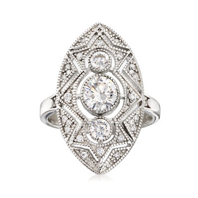 1.30 ct. t.w. CZ Trio Ring in Sterling Silver