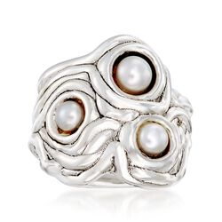5-6mm Cultured Pearl Freeform Ring in Sterling Silver, , default