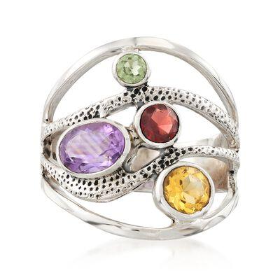 1.80 ct. t.w. Multi-Stone Bezel  Ring in Sterling Silver, , default