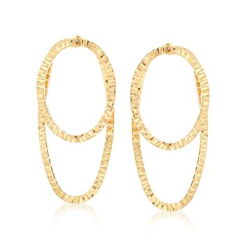 Italian 14kt Yellow Gold Diamond-Cut Oval Jewelry Set: Earrings and Front-Back Jackets, , default