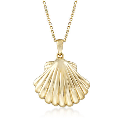 14kt Yellow Gold Seashell Pendant Necklace, , default
