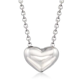 "Italian Sterling Silver Small Puffed Heart Necklace. 18"", , default"