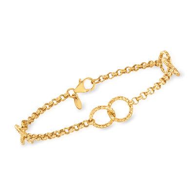 Italian 18kt Yellow Gold Interlocking-Circle Bracelet, , default