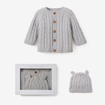 Elegant Baby Gray Cotton Cable Knit Sweater and Hat Set