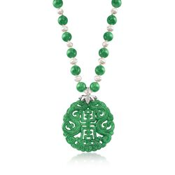 "Green Jade Bead and Pendant Necklace With Cultured Pearls and .20 ct. t.w. White Topaz in Sterling Silver. 18"", , default"