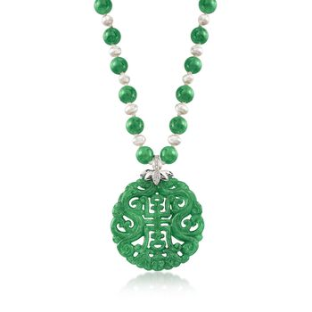 """Green Jade Bead and Pendant Necklace With Cultured Pearls and .20 ct. t.w. White Topaz in Sterling Silver. 18"""", , default"""
