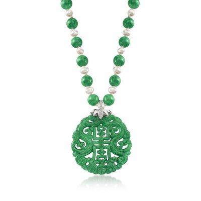 Green Jade Bead and Pendant Necklace with Cultured Pearls and .20 ct. t.w. White Topaz in Sterling Silver, , default