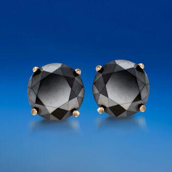 2.00 ct. t.w. Black Diamond Stud Earrings in 14kt Yellow Gold , , default