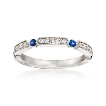Henri Daussi .21 ct. t.w. Diamond and Sapphire Wedding Ring in 14kt White Gold, , default