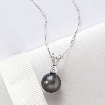 """Cultured Tahitian Pearl and .80 Carat London Blue Topaz Pendant Necklace in Sterling Silver. 18.5"""""""