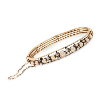 """C. 1940 Vintage 3-5mm Cultured Pearl and .75 ct. t.w. Diamond Bangle Bracelet in 14kt Yellow Gold. 7"""", , default"""