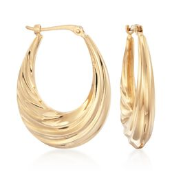"14kt Yellow Gold Oval Swirl Hoop Earrings. 1"", , default"