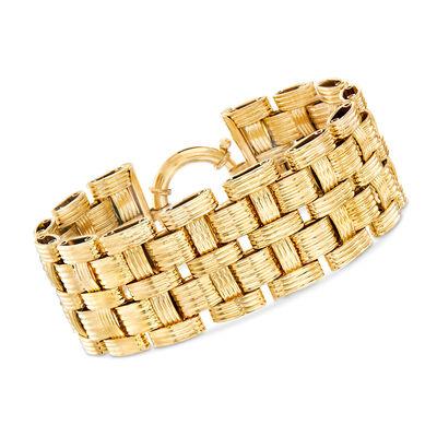 Italian Basketweave Bracelet in 18kt Yellow Gold, , default