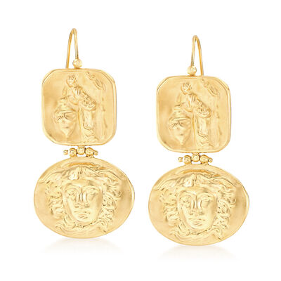 Italian Tagliamonte Tribute to Medusa Drop Earrings in 18kt Gold Over Sterling