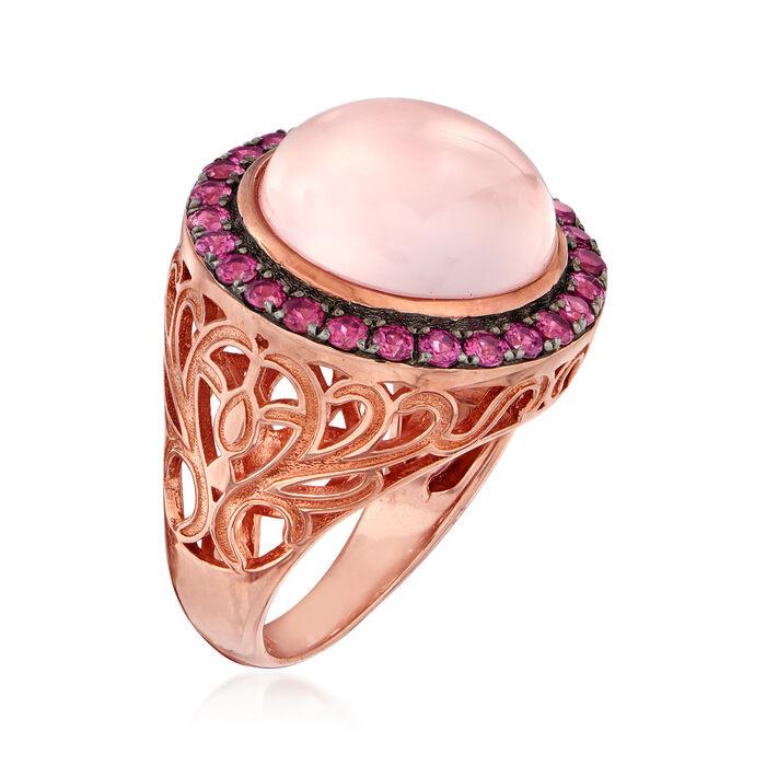 9.75 Carat Rose Quartz and 1.30 ct. t.w. Rhodolite Garnet Halo Ring in 18kt Rose Gold Over Sterling