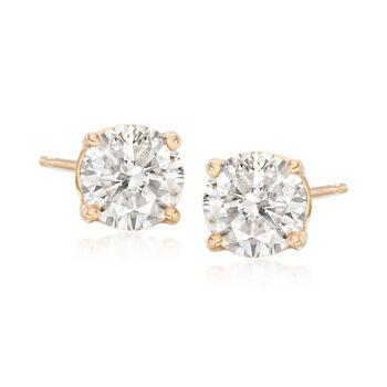 2.00 ct. t.w. Diamond Halo Earrings in 14kt Yellow Gold , , default