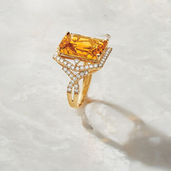 9.50 Carat Citrine and .86 ct. t.w. Diamond Ring in 14kt Yellow Gold