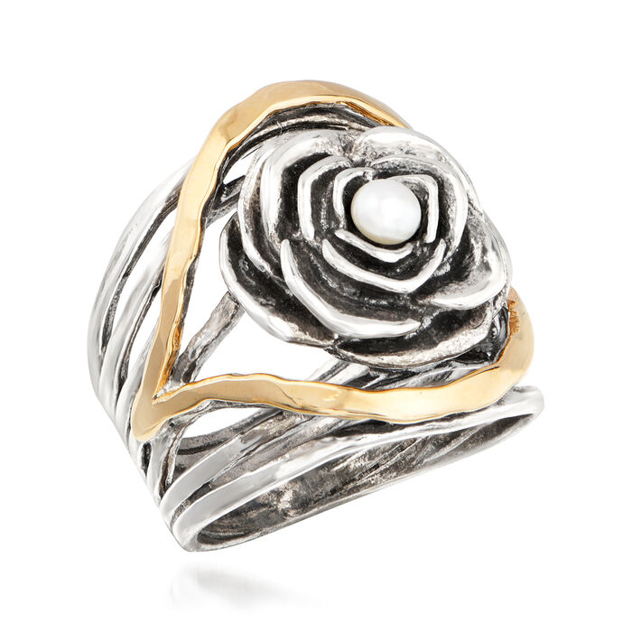 3.5-4mm Cultured Pearl Rose Ring in Sterling Silver with 14kt Yellow Gold