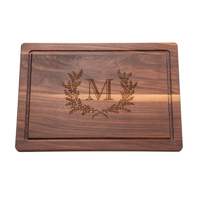 Personalized Floral Wreath Walnut Wood Cutting Board, , default