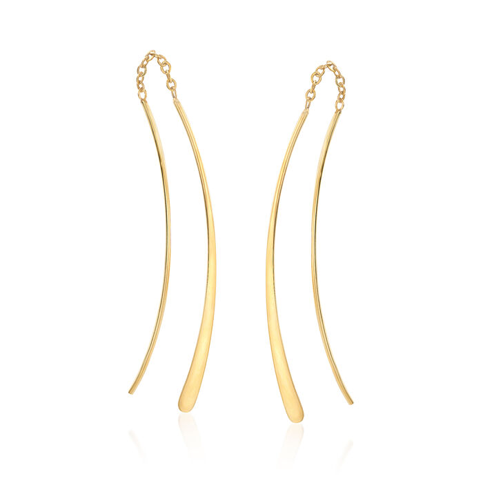 14kt Yellow Gold Curved Wire Earrings, , default