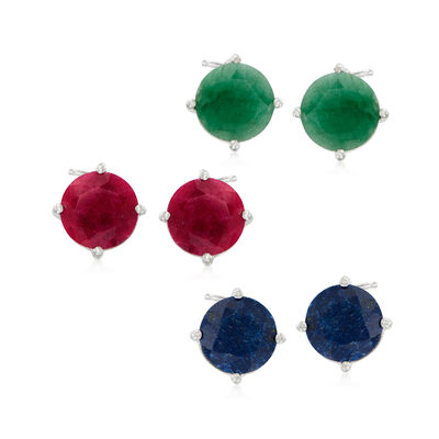12.00 ct. t.w. Multi-Stone Jewelry Set: Three Pairs of Stud Earrings in Sterling Silver, , default