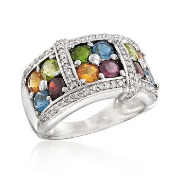 3.60 ct. t.w. Multi-Gem Ring in Sterling Silver, , default