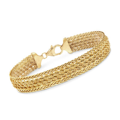 Italian 14kt Yellow Gold Wheat and Rope-Link Bracelet, , default