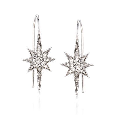 .35 ct. t.w. Diamond Star Drop Earrings in Sterling Silver