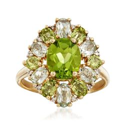 2.30 ct. t.w. Peridot and 1.80 ct. t.w. Green Prasiolite Ring in 14kt Yellow Gold, , default